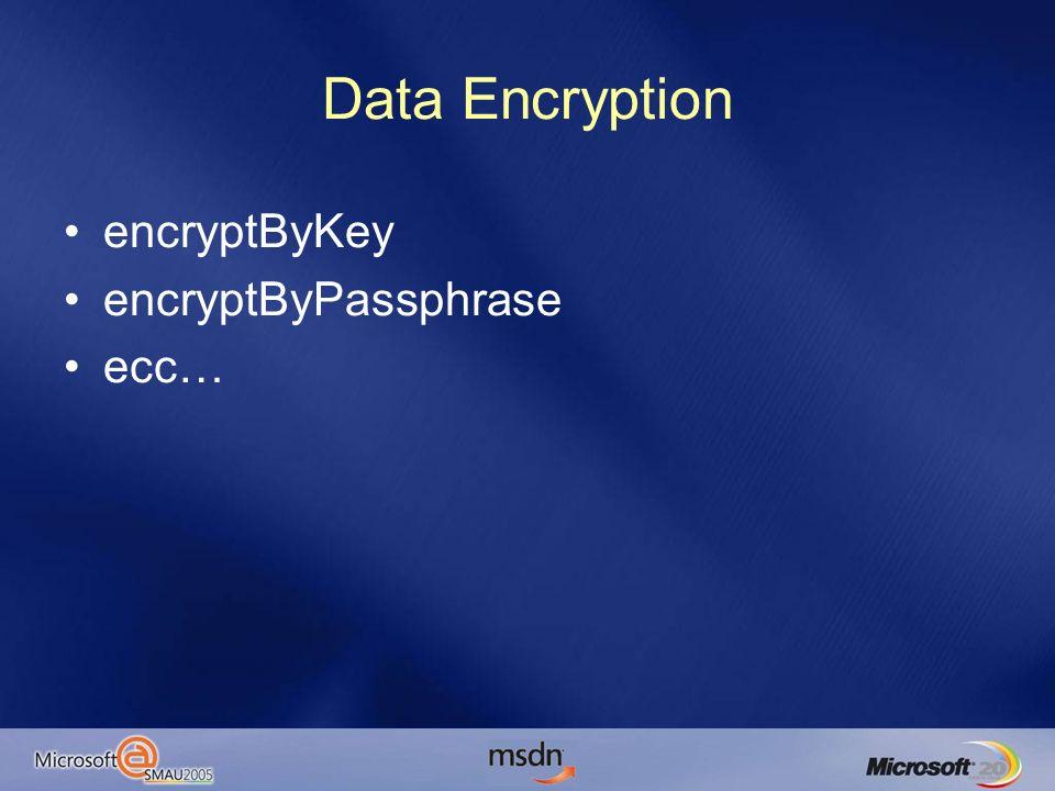 Data Encryption encryptByKey encryptByPassphrase ecc…