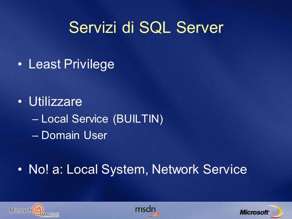 Security Model Autenticazione: –Windows –SQL Possibilità di richiedere una password forte(WIN2K3) Scadenza password(WIN2K3) Pacchetti sempre criptati durante la connessione –Certificati