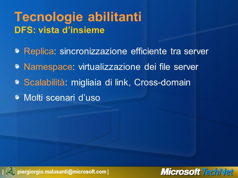 | piergiorgio.malusardi@microsoft.com | Tecnologie abilitanti DFS: vista dinsieme Replica: sincronizzazione efficiente tra server Namespace: virtualiz