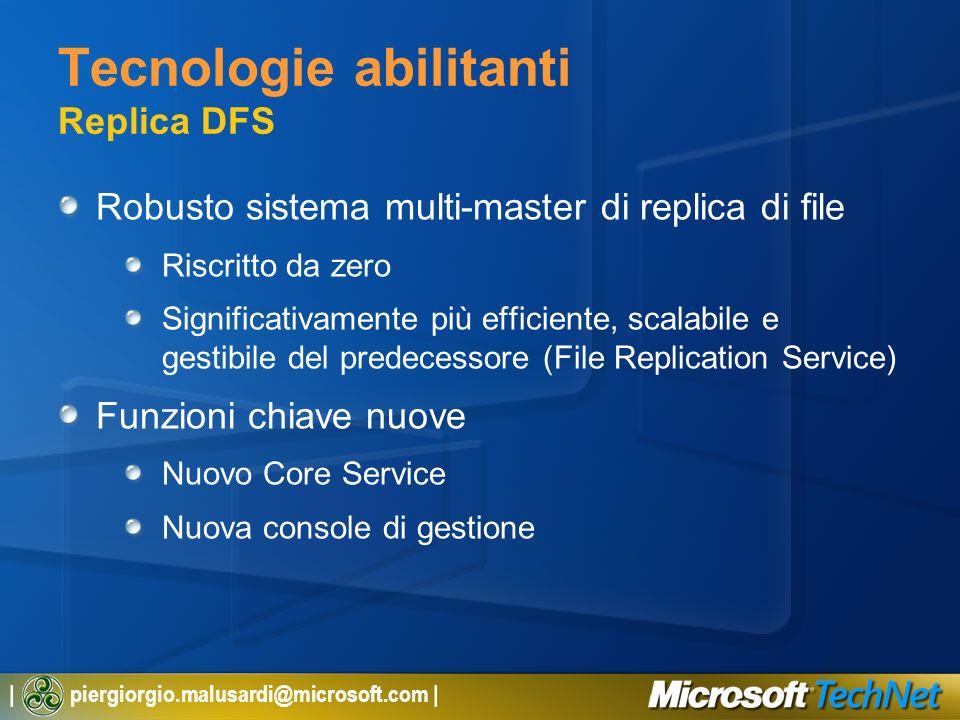 | piergiorgio.malusardi@microsoft.com | Tecnologie abilitanti Replica DFS Robusto sistema multi-master di replica di file Riscritto da zero Significat