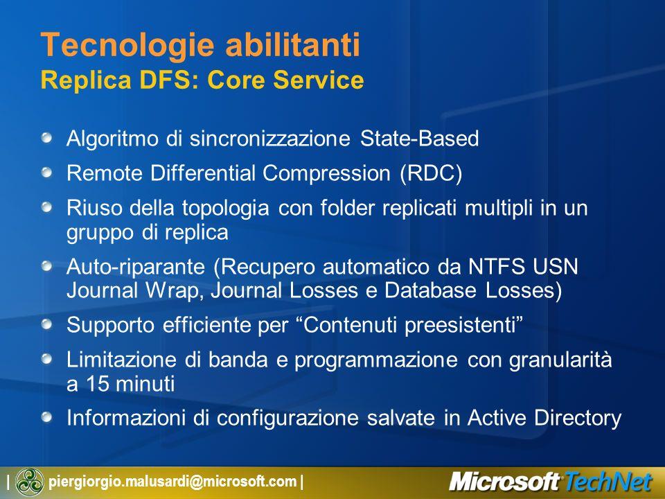 | piergiorgio.malusardi@microsoft.com | Tecnologie abilitanti Replica DFS: Core Service Algoritmo di sincronizzazione State-Based Remote Differential