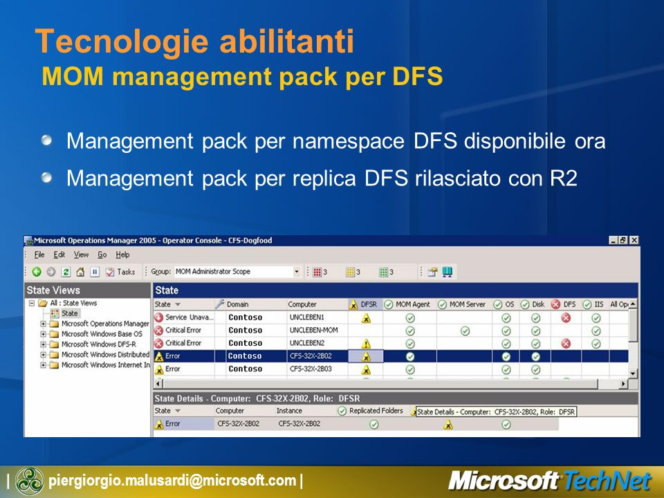 | piergiorgio.malusardi@microsoft.com | Tecnologie abilitanti MOM management pack per DFS Management pack per namespace DFS disponibile ora Management pack per replica DFS rilasciato con R2