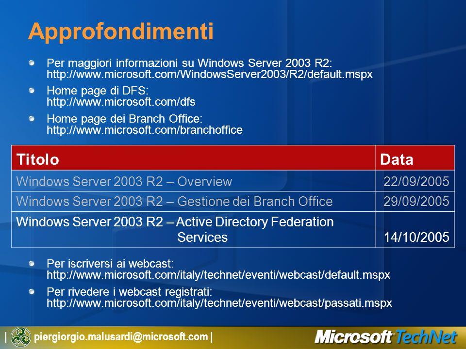 | piergiorgio.malusardi@microsoft.com | Approfondimenti Per maggiori informazioni su Windows Server 2003 R2: http://www.microsoft.com/WindowsServer200