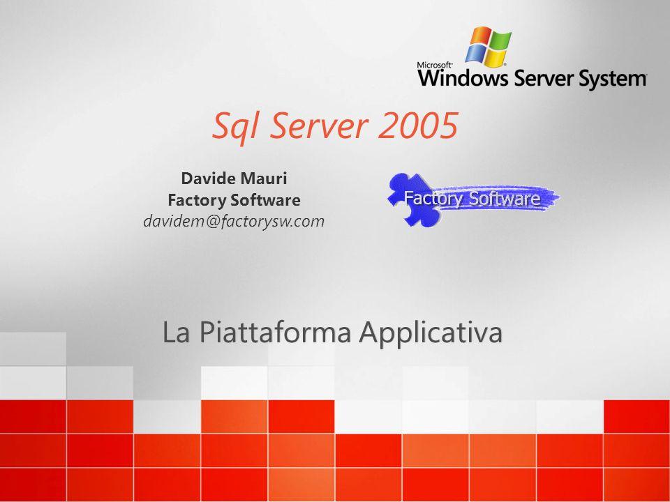 Sql Server 2005 La Piattaforma Applicativa Davide Mauri Factory Software davidem@factorysw.com