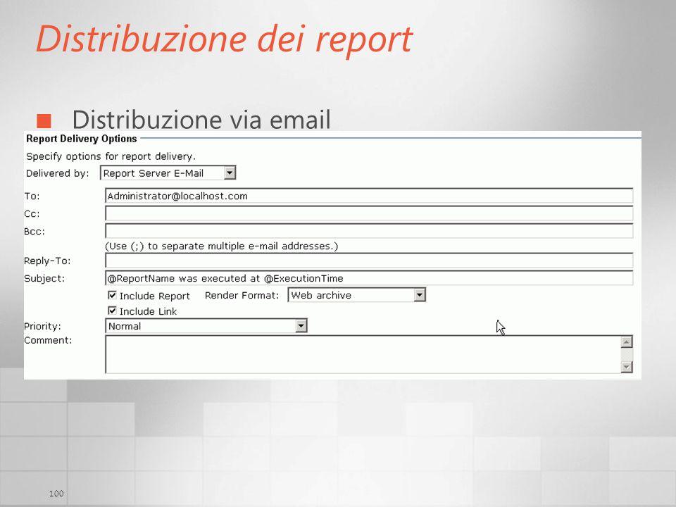 100 Distribuzione dei report Distribuzione via email