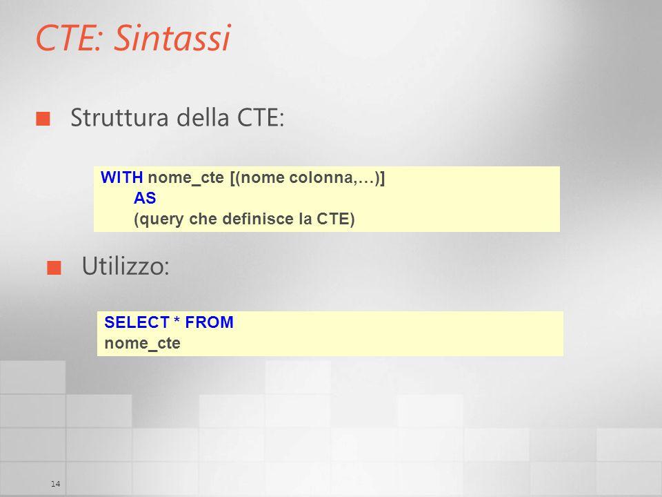 14 CTE: Sintassi Struttura della CTE: WITH nome_cte [(nome colonna,…)] AS (query che definisce la CTE) Utilizzo: SELECT * FROM nome_cte