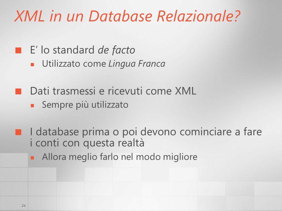25 XML in un Database Relazionale? E lo standard de facto Utilizzato come Lingua Franca Dati trasmessi e ricevuti come XML Sempre più utilizzato I dat
