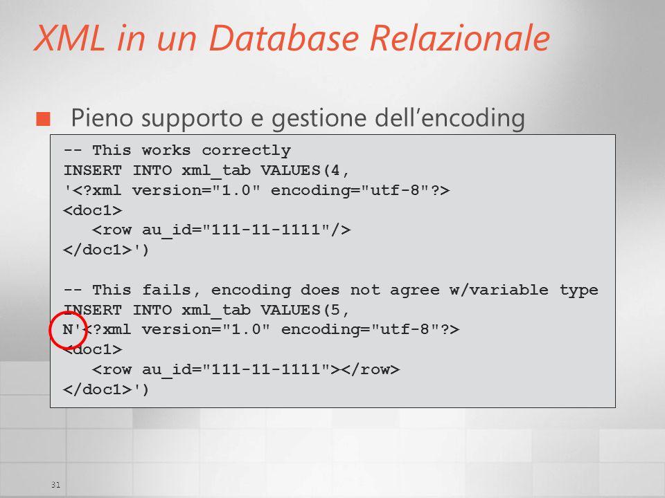 31 XML in un Database Relazionale Pieno supporto e gestione dellencoding -- This works correctly INSERT INTO xml_tab VALUES(4, ' ') -- This fails, enc