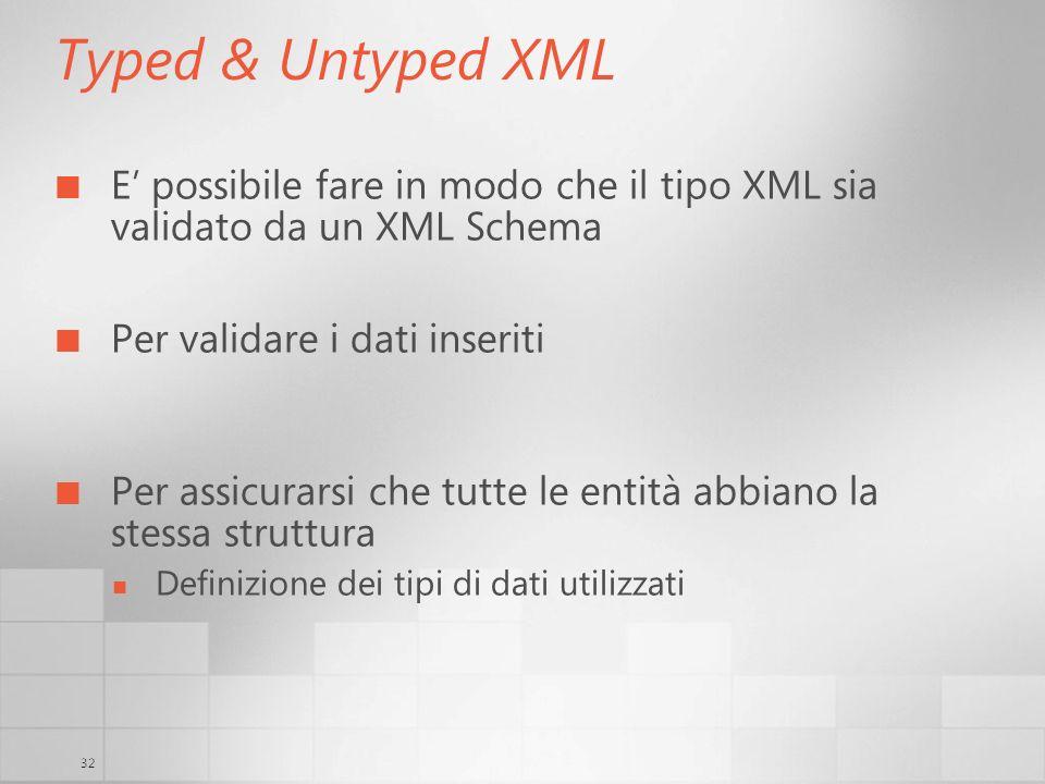 32 Typed & Untyped XML E possibile fare in modo che il tipo XML sia validato da un XML Schema Per validare i dati inseriti Per assicurarsi che tutte l