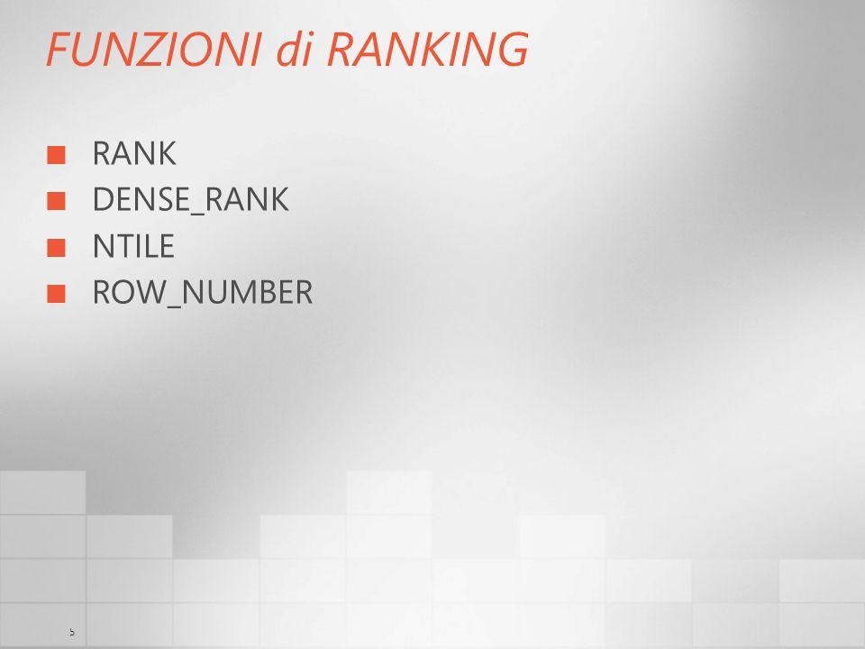 5 FUNZIONI di RANKING RANK DENSE_RANK NTILE ROW_NUMBER