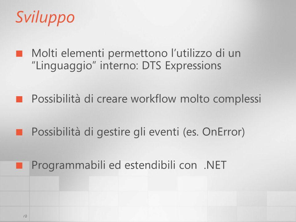 70 Sviluppo Molti elementi permettono lutilizzo di un Linguaggio interno: DTS Expressions Possibilità di creare workflow molto complessi Possibilità d