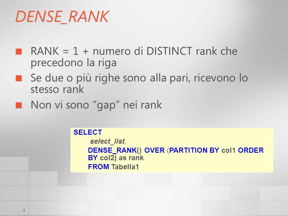 8 DENSE_RANK RANK = 1 + numero di DISTINCT rank che precedono la riga Se due o più righe sono alla pari, ricevono lo stesso rank Non vi sono gap nei r