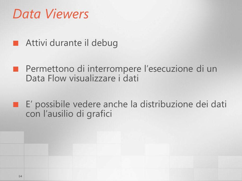 84 Data Viewers Attivi durante il debug Permettono di interrompere lesecuzione di un Data Flow visualizzare i dati E possibile vedere anche la distrib