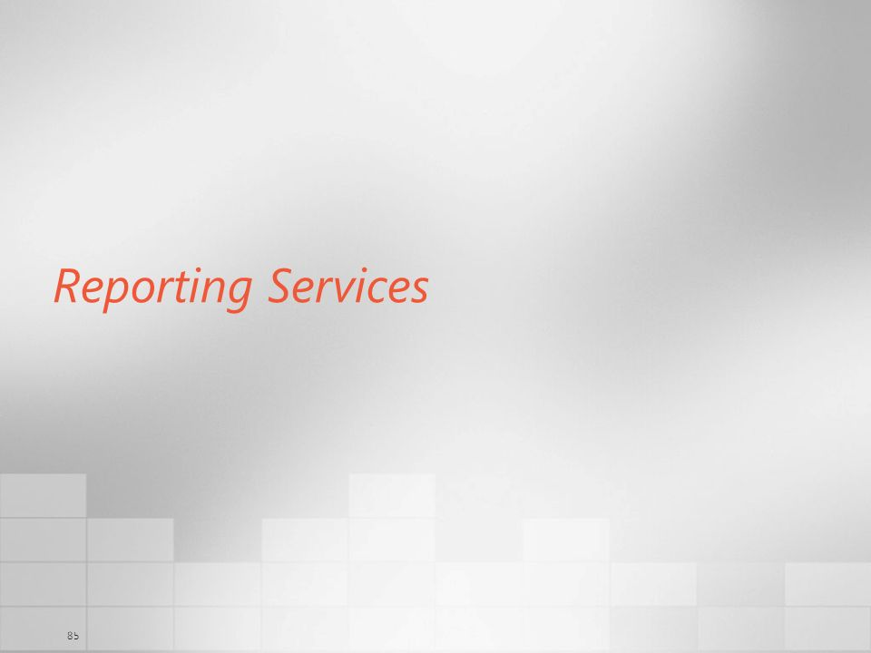 85 Reporting Services
