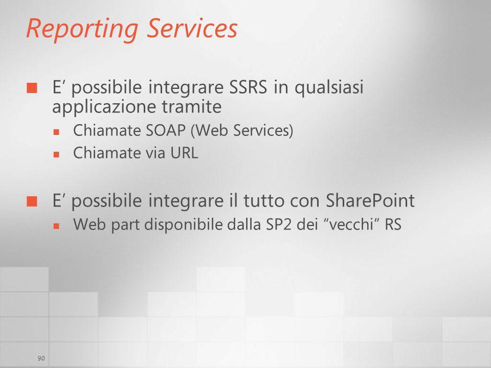 90 Reporting Services E possibile integrare SSRS in qualsiasi applicazione tramite Chiamate SOAP (Web Services) Chiamate via URL E possibile integrare