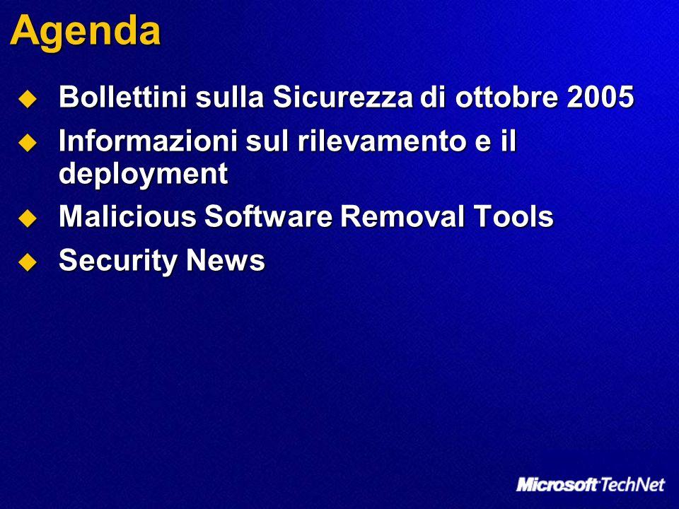 Agenda Bollettini sulla Sicurezza di ottobre 2005 Bollettini sulla Sicurezza di ottobre 2005 Informazioni sul rilevamento e il deployment Informazioni sul rilevamento e il deployment Malicious Software Removal Tools Malicious Software Removal Tools Security News Security News