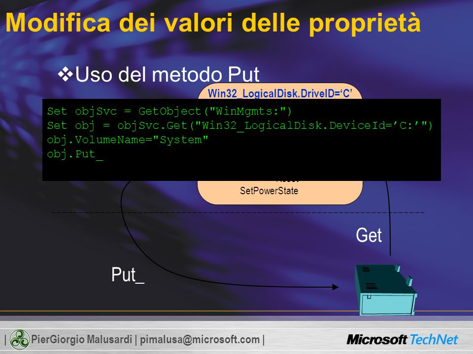 | PierGiorgio Malusardi | pimalusa@microsoft.com | Modifica dei valori delle proprietà Uso del metodo Put_ Win32_LogicalDisk.DriveID=C Properties Description FileSystem Size FreeSpace VolumeName Methods Reset SetPowerState Get Put_ In memoria Set objSvc = GetObject( WinMgmts: ) Set obj = objSvc.Get( Win32_LogicalDisk.DeviceId=C: ) obj.VolumeName= System obj.Put_