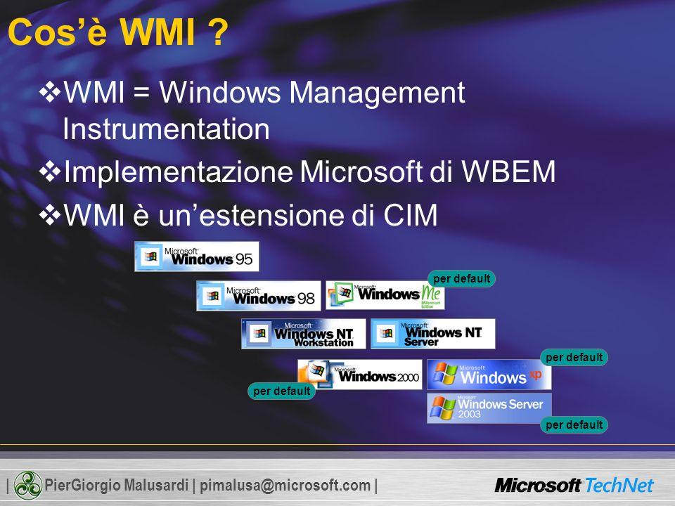 | PierGiorgio Malusardi | pimalusa@microsoft.com | Cosè WMI .