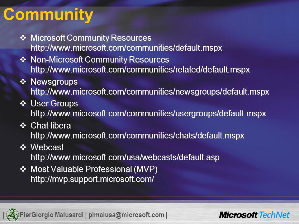 | PierGiorgio Malusardi | pimalusa@microsoft.com | Community Microsoft Community Resources http://www.microsoft.com/communities/default.mspx Non-Micro