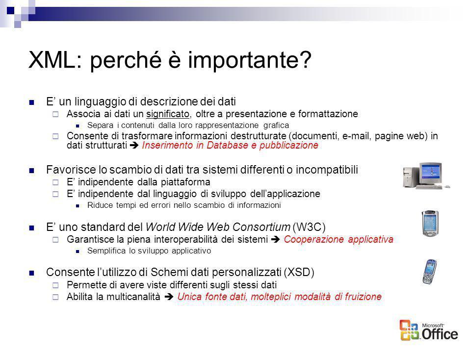 XML: perché è importante? E un linguaggio di descrizione dei dati Associa ai dati un significato, oltre a presentazione e formattazione Separa i conte