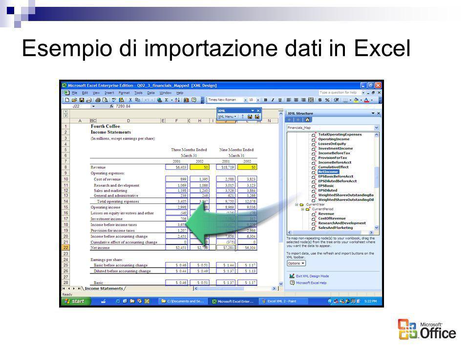 Esempio di importazione dati in Excel