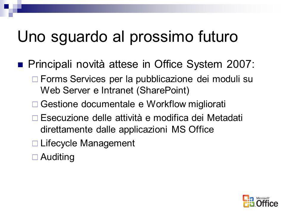 Uno sguardo al prossimo futuro Principali novità attese in Office System 2007: Forms Services per la pubblicazione dei moduli su Web Server e Intranet