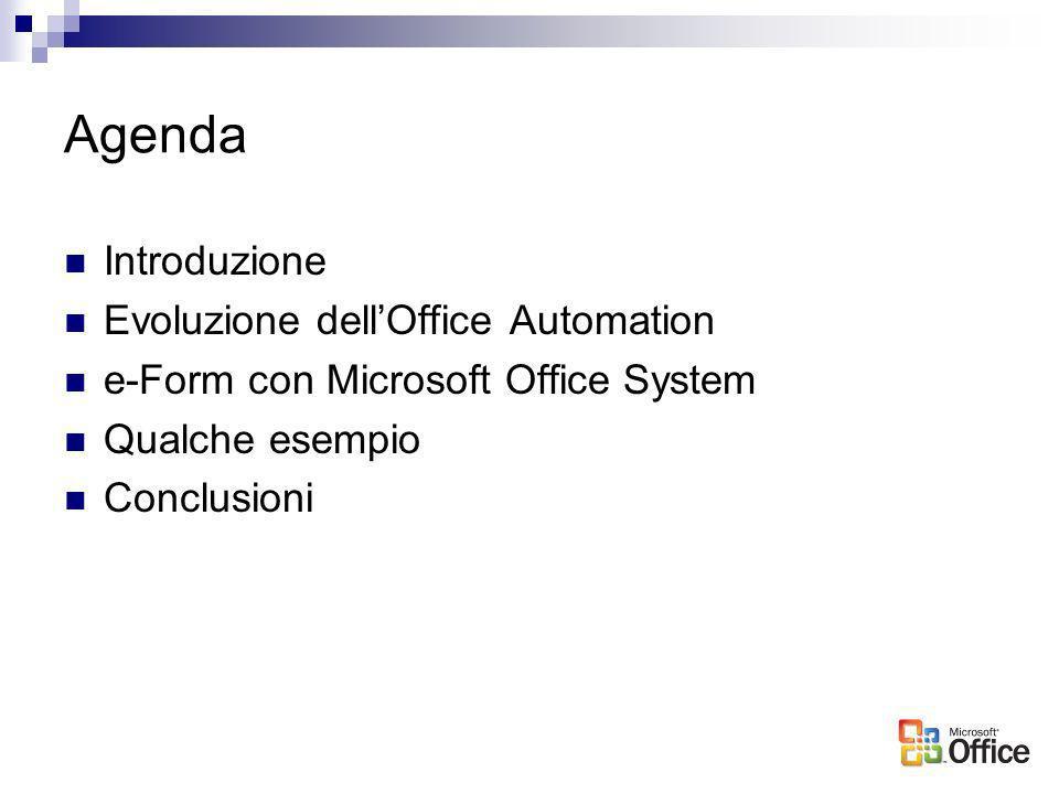 Agenda Introduzione Evoluzione dellOffice Automation e-Form con Microsoft Office System Qualche esempio Conclusioni