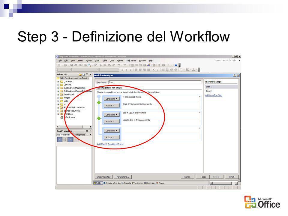 Step 3 - Definizione del Workflow