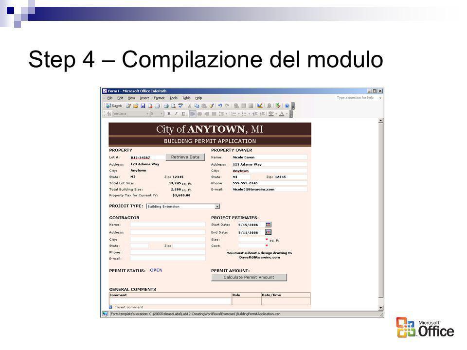 Step 4 – Compilazione del modulo