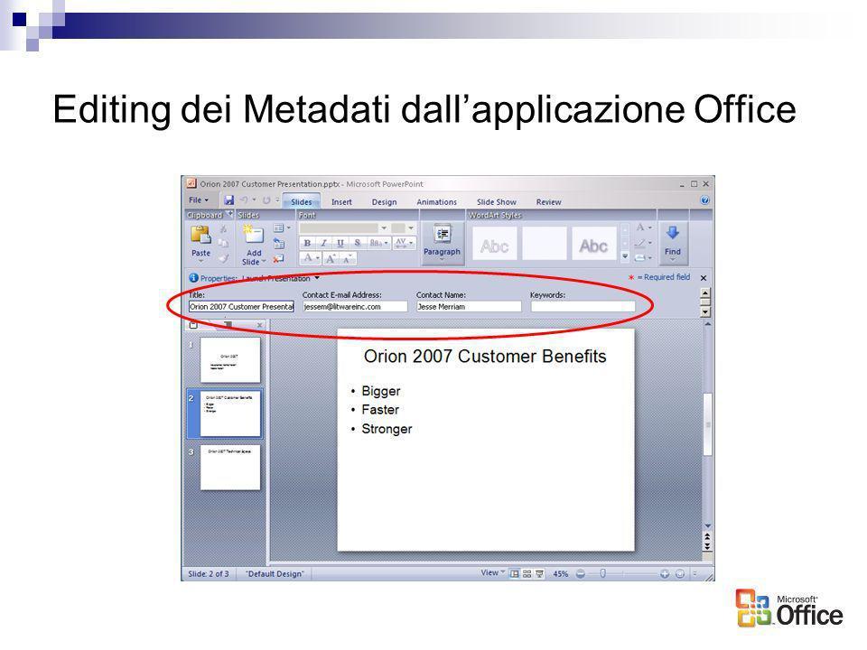 Editing dei Metadati dallapplicazione Office