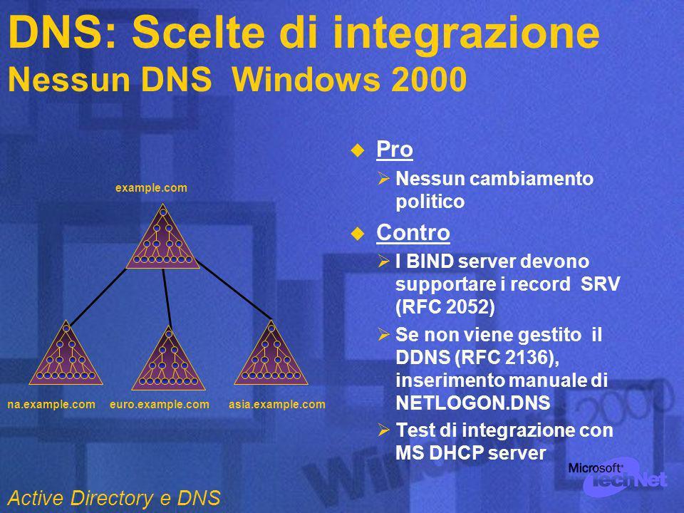 DNS: Scelte di integrazione Nessun DNS Windows 2000 Pro Nessun cambiamento politico Contro I BIND server devono supportare i record SRV (RFC 2052) Se non viene gestito il DDNS (RFC 2136), inserimento manuale di NETLOGON.DNS Test di integrazione con MS DHCP server example.com na.example.comeuro.example.comasia.example.com Active Directory e DNS