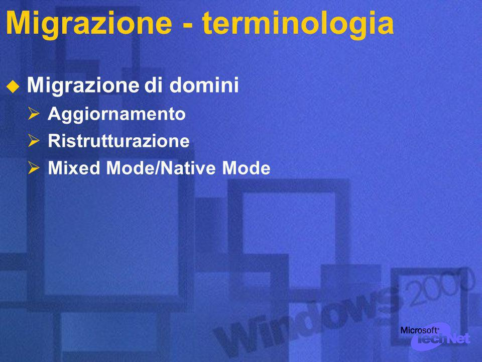 Migrazione - terminologia Migrazione di domini Aggiornamento Ristrutturazione Mixed Mode/Native Mode