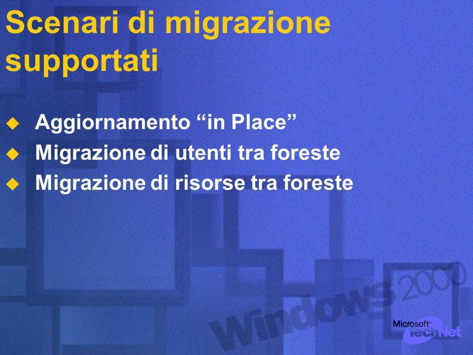 Scenari di migrazione supportati Aggiornamento in Place Migrazione di utenti tra foreste Migrazione di risorse tra foreste