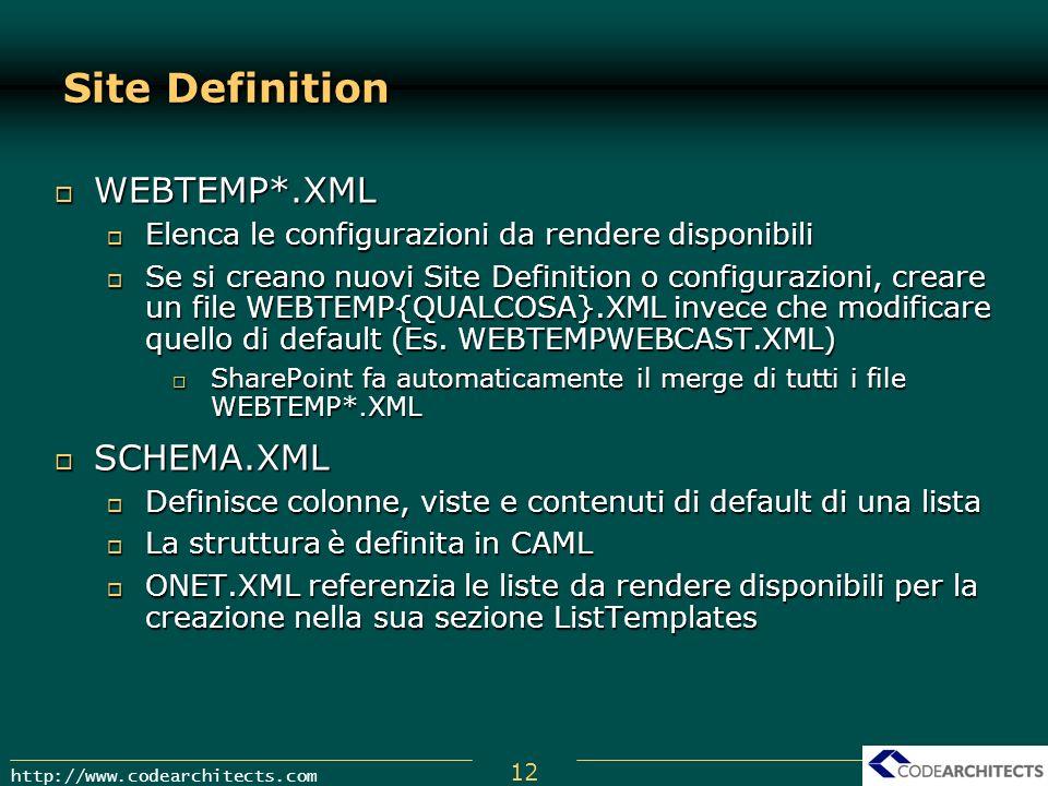 12 http://www.codearchitects.com Site Definition WEBTEMP*.XML WEBTEMP*.XML Elenca le configurazioni da rendere disponibili Elenca le configurazioni da