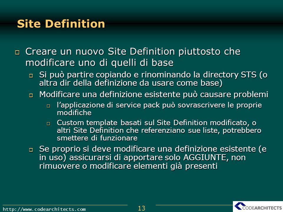 13 http://www.codearchitects.com Site Definition Creare un nuovo Site Definition piuttosto che modificare uno di quelli di base Creare un nuovo Site D