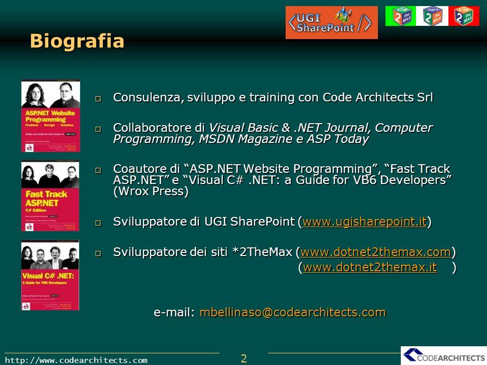 2 http://www.codearchitects.com Biografia Consulenza, sviluppo e training con Code Architects Srl Consulenza, sviluppo e training con Code Architects