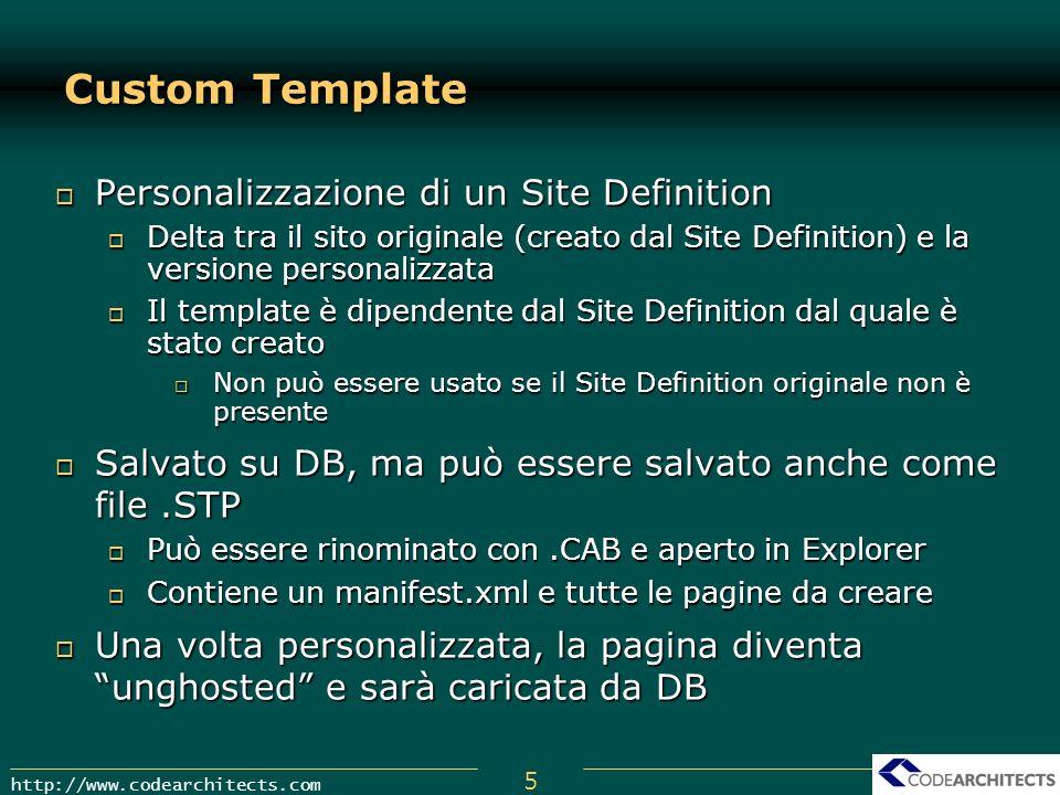 5 http://www.codearchitects.com Custom Template Personalizzazione di un Site Definition Personalizzazione di un Site Definition Delta tra il sito orig