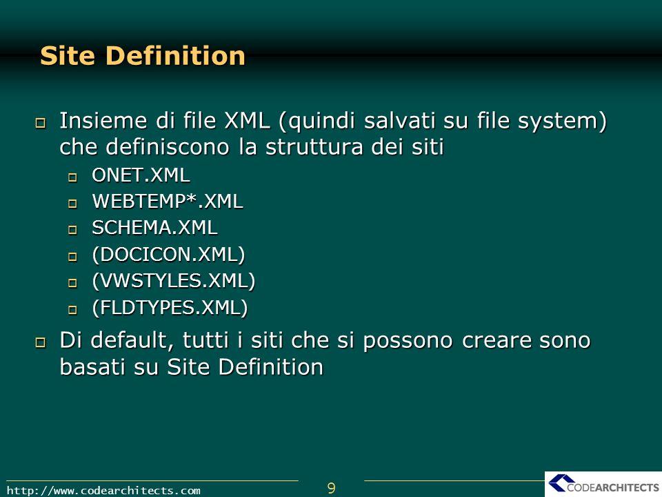 9 http://www.codearchitects.com Site Definition Insieme di file XML (quindi salvati su file system) che definiscono la struttura dei siti Insieme di f