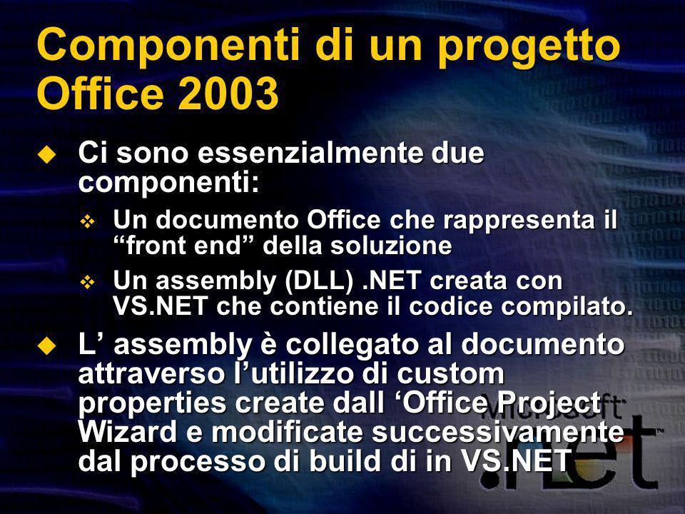 Componenti di un progetto Office 2003 Ci sono essenzialmente due componenti: Ci sono essenzialmente due componenti: Un documento Office che rappresenta il front end della soluzione Un documento Office che rappresenta il front end della soluzione Un assembly (DLL).NET creata con VS.NET che contiene il codice compilato.