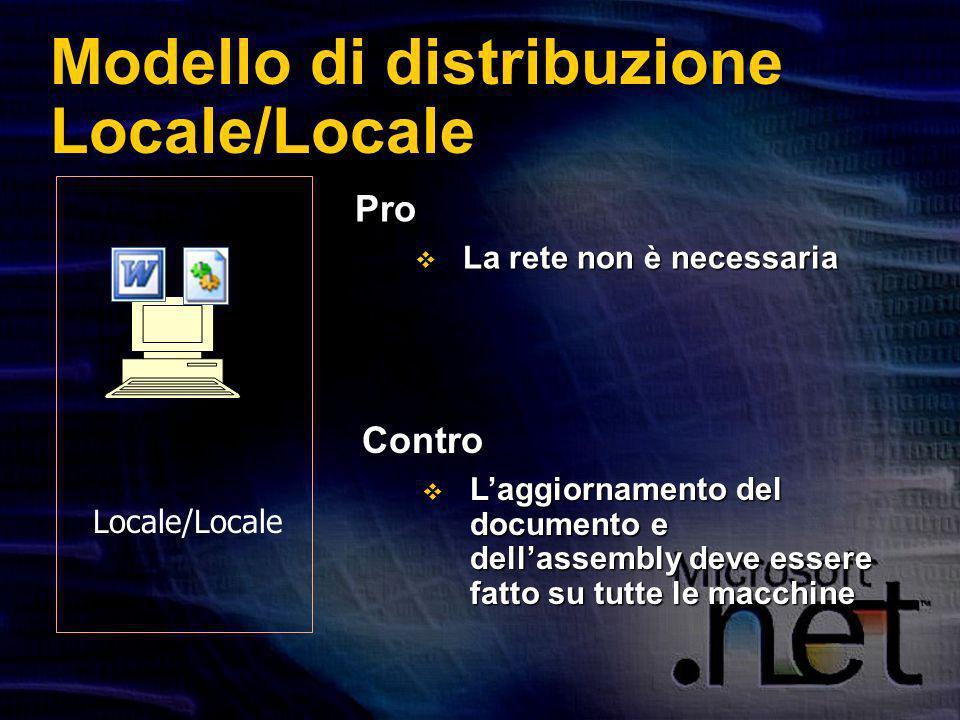 Modello di distribuzione Locale/Locale Pro La rete non è necessaria La rete non è necessaria Contro Laggiornamento del documento e dellassembly deve essere fatto su tutte le macchine Laggiornamento del documento e dellassembly deve essere fatto su tutte le macchine Locale/Locale