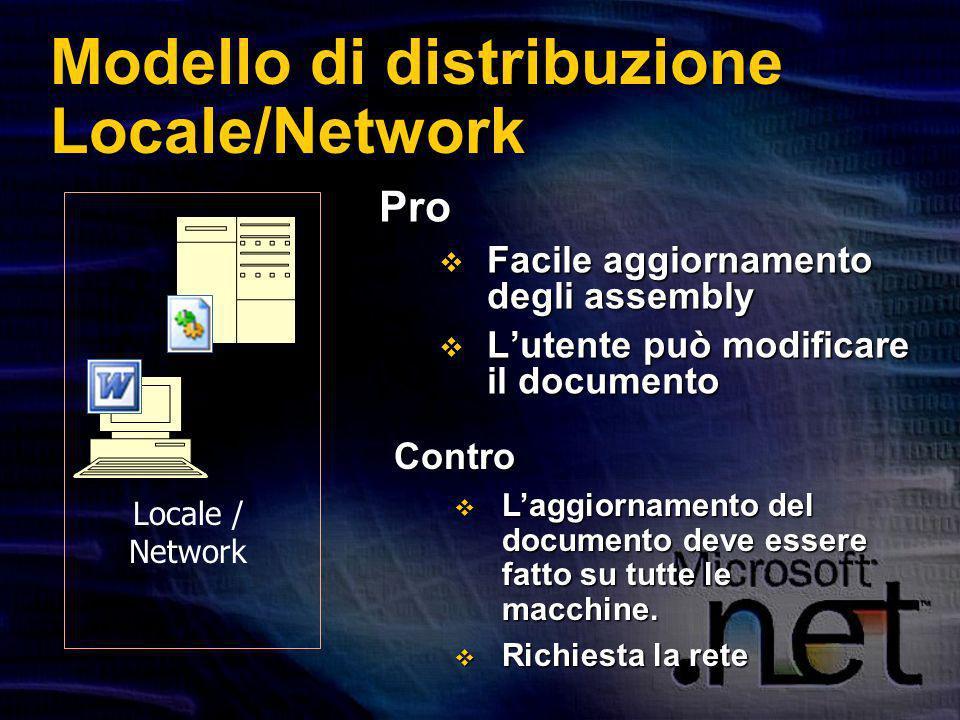 Modello di distribuzione Locale/Network Pro Facile aggiornamento degli assembly Facile aggiornamento degli assembly Lutente può modificare il documento Lutente può modificare il documento Contro Laggiornamento del documento deve essere fatto su tutte le macchine.