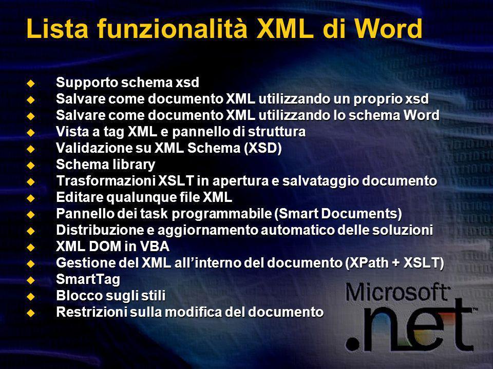 Lista funzionalità XML di Word Supporto schema xsd Supporto schema xsd Salvare come documento XML utilizzando un proprio xsd Salvare come documento XML utilizzando un proprio xsd Salvare come documento XML utilizzando lo schema Word Salvare come documento XML utilizzando lo schema Word Vista a tag XML e pannello di struttura Vista a tag XML e pannello di struttura Validazione su XML Schema (XSD) Validazione su XML Schema (XSD) Schema library Schema library Trasformazioni XSLT in apertura e salvataggio documento Trasformazioni XSLT in apertura e salvataggio documento Editare qualunque file XML Editare qualunque file XML Pannello dei task programmabile (Smart Documents) Pannello dei task programmabile (Smart Documents) Distribuzione e aggiornamento automatico delle soluzioni Distribuzione e aggiornamento automatico delle soluzioni XML DOM in VBA XML DOM in VBA Gestione del XML allinterno del documento (XPath + XSLT) Gestione del XML allinterno del documento (XPath + XSLT) SmartTag SmartTag Blocco sugli stili Blocco sugli stili Restrizioni sulla modifica del documento Restrizioni sulla modifica del documento