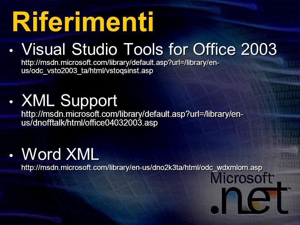Riferimenti Visual Studio Tools for Office 2003 http://msdn.microsoft.com/library/default.asp url=/library/en- us/odc_vsto2003_ta/html/vstoqsinst.asp Visual Studio Tools for Office 2003 http://msdn.microsoft.com/library/default.asp url=/library/en- us/odc_vsto2003_ta/html/vstoqsinst.asp XML Support http://msdn.microsoft.com/library/default.asp url=/library/en- us/dnofftalk/html/office04032003.asp XML Support http://msdn.microsoft.com/library/default.asp url=/library/en- us/dnofftalk/html/office04032003.asp Word XML http://msdn.microsoft.com/library/en-us/dno2k3ta/html/odc_wdxmlom.asp Word XML http://msdn.microsoft.com/library/en-us/dno2k3ta/html/odc_wdxmlom.asp