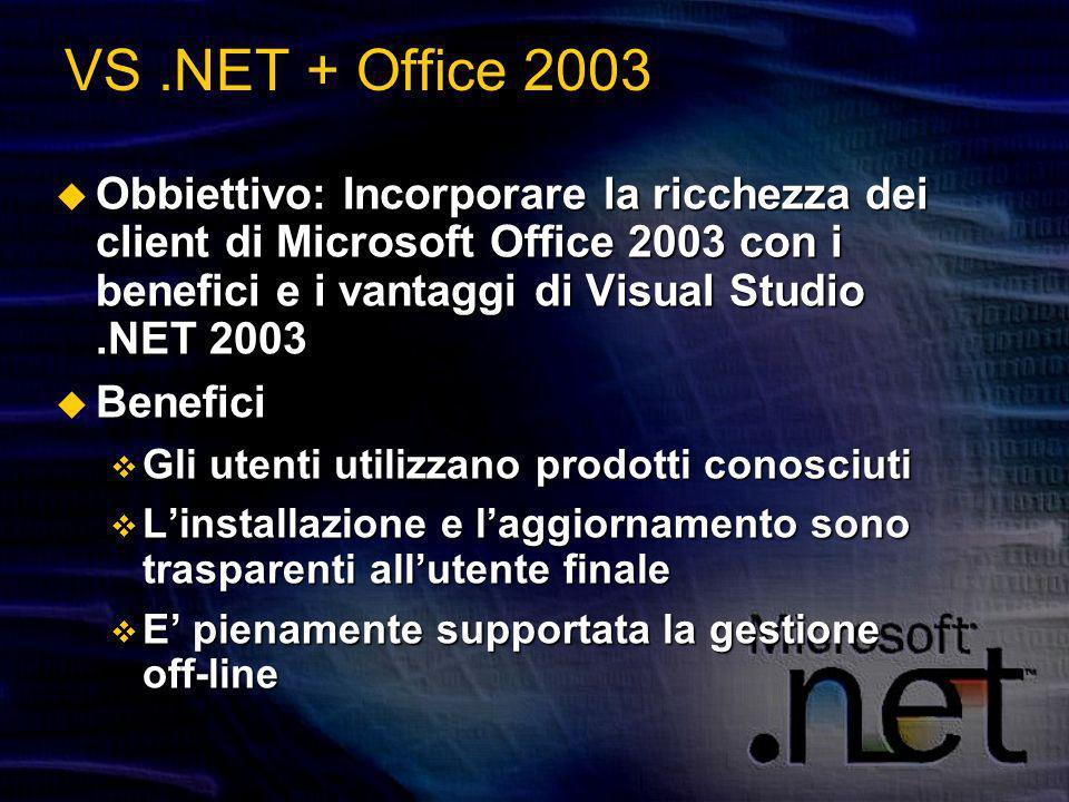 VS.NET + Office 2003 Obbiettivo: Incorporare la ricchezza dei client di Microsoft Office 2003 con i benefici e i vantaggi di Visual Studio.NET 2003 Obbiettivo: Incorporare la ricchezza dei client di Microsoft Office 2003 con i benefici e i vantaggi di Visual Studio.NET 2003 Benefici Benefici Gli utenti utilizzano prodotti conosciuti Gli utenti utilizzano prodotti conosciuti Linstallazione e laggiornamento sono trasparenti allutente finale Linstallazione e laggiornamento sono trasparenti allutente finale E pienamente supportata la gestione off-line E pienamente supportata la gestione off-line