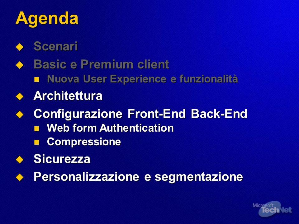Agenda Scenari Scenari Basic e Premium client Basic e Premium client Nuova User Experience e funzionalità Nuova User Experience e funzionalità Archite