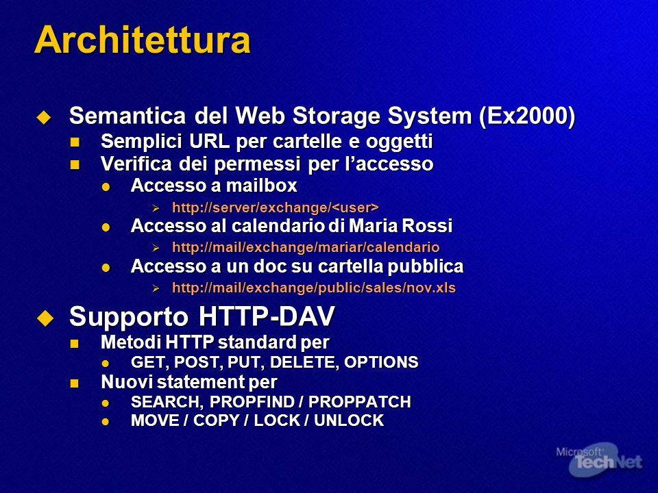 Architettura Semantica del Web Storage System (Ex2000) Semantica del Web Storage System (Ex2000) Semplici URL per cartelle e oggetti Semplici URL per