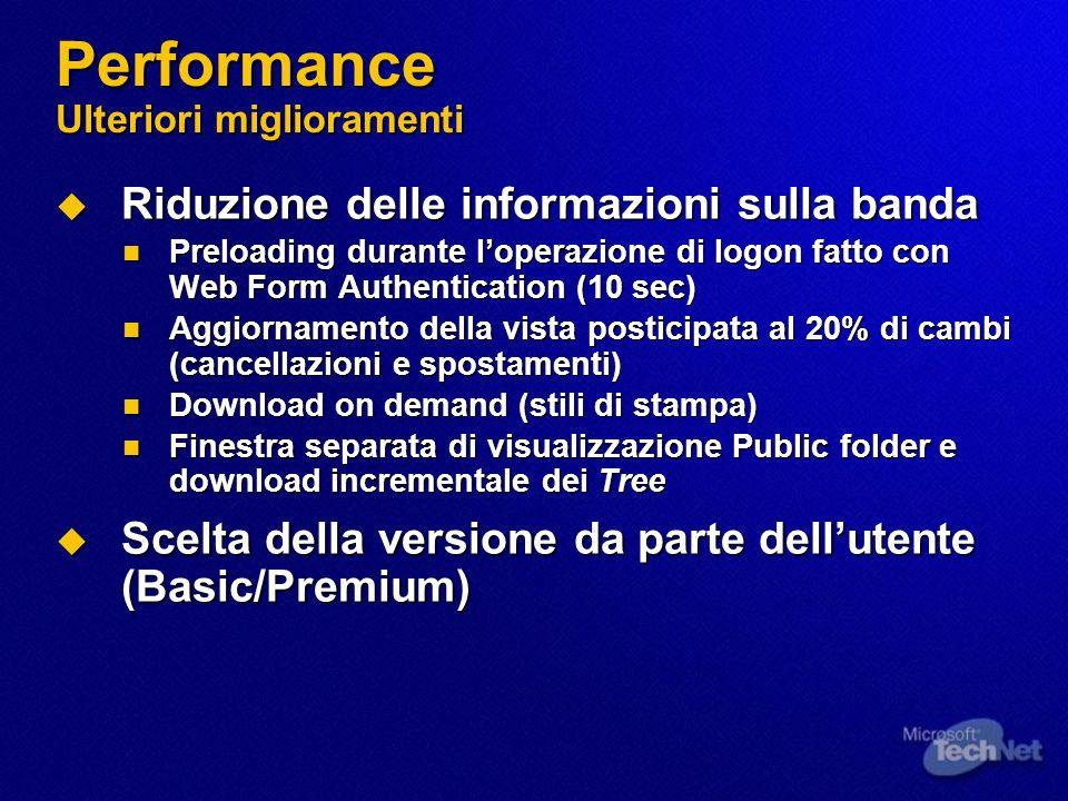 Performance Ulteriori miglioramenti Riduzione delle informazioni sulla banda Riduzione delle informazioni sulla banda Preloading durante loperazione d