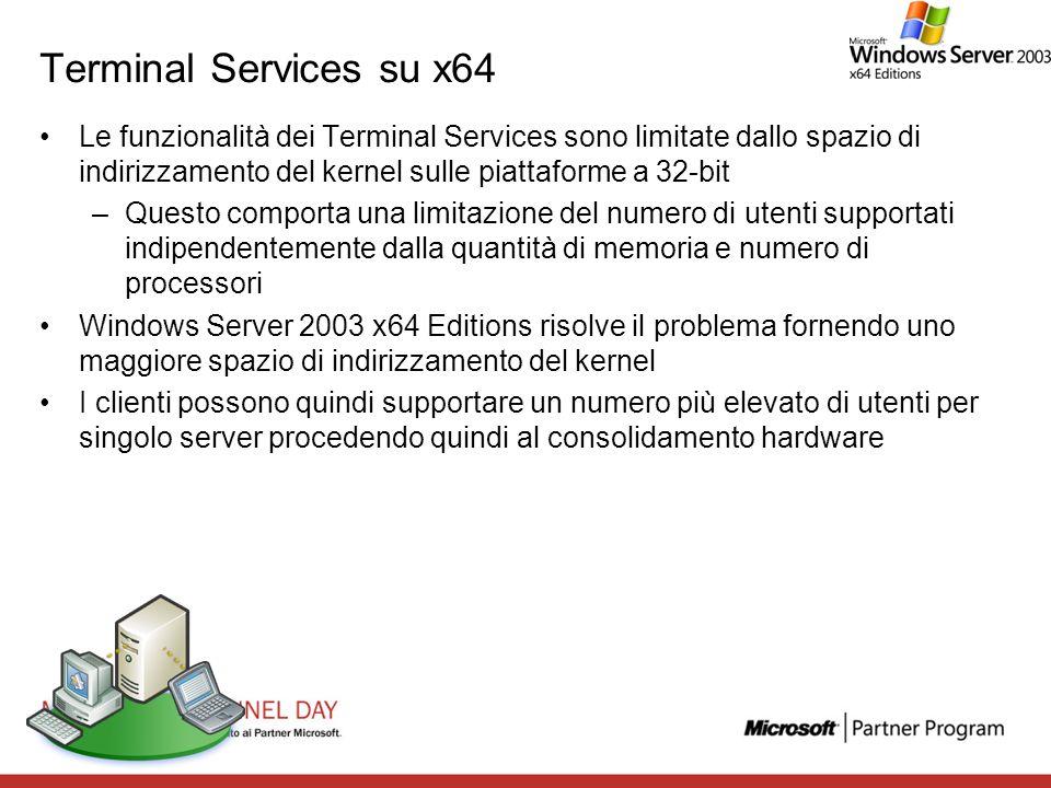 Terminal Services su x64 Le funzionalità dei Terminal Services sono limitate dallo spazio di indirizzamento del kernel sulle piattaforme a 32-bit –Que