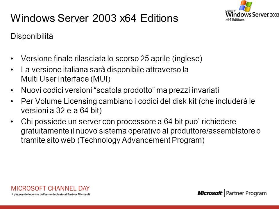 Windows Server 2003 x64 Editions Disponibilità Versione finale rilasciata lo scorso 25 aprile (inglese) La versione italiana sarà disponibile attraver