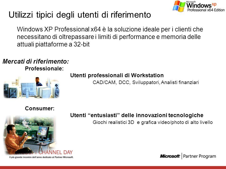 Utilizzi tipici degli utenti di riferimento Windows XP Professional x64 è la soluzione ideale per i clienti che necessitano di oltrepassare i limiti d